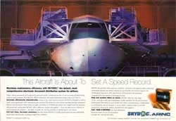 Advertisement for SKYDOC product launch campaign for Arinc, Inc., a $400 million avionics leader. Winner of multiple readership and creativity awards, exceeded goals for stories placed and inquiries generated.