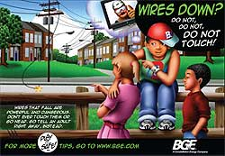 "A ""do not touch"" poster for Baltimore Gas and Electric Company, targeted to pre-teens for use in schools, encouraging them not to go near electrical wires."