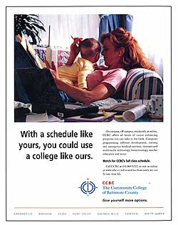 Ad that was part of a campaign to re-introduce and unify the Community College of Baltimore County.